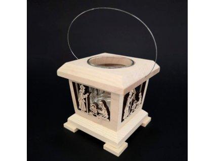 Dřevěná lucerna s motivem betléma, masivní dřevo, 9x9x9 cm