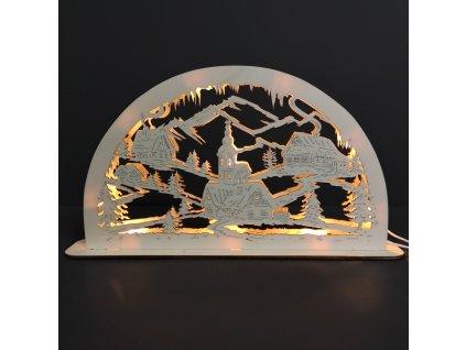 Dřevěný svítící portál s motivem vesničky, 39 cm