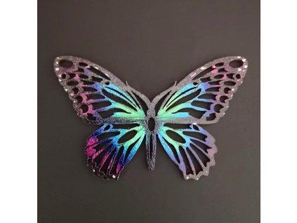 Dřevěná dekorace motýl  barevný 9 cm