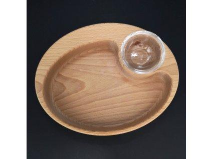 Dřevěná miska nachos oválná, masivní dřevo, rozměr 25x20x4,5 cm