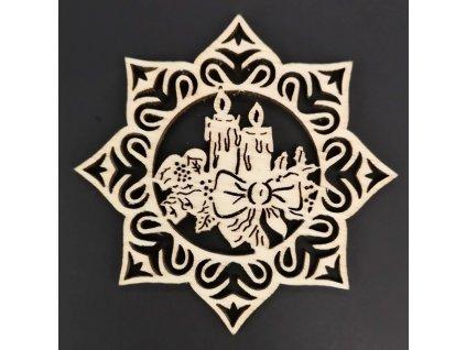 Dřevěná ozdoba hvězda se svíčkami 6 cm