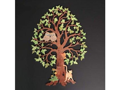 Dřevěný strom se sovami, barevná závěsná dekorace, výška 28 cm