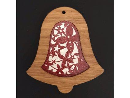 Dřevěná ozdoba z masivu s barevným vkladem - zvonek s ornamentem 8 cm