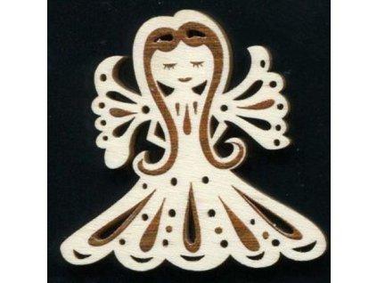 Dřevěná ozdoba s potiskem anděl 6 cm