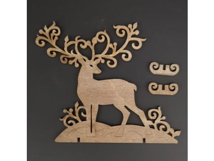 Dřevěná dekorace 3D jelen šedohnědý,výška 15 cm