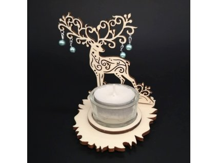 Dřevěný svícen jelen s korálky, výška 10 cm