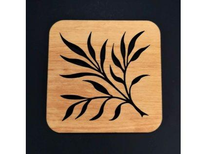 Dřevěný podtácek hranatý s motivem větve, masivní dřevo, 9 cm