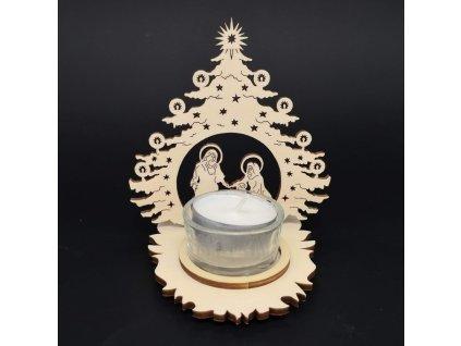 Vánoční dřevěný svícen - betlem