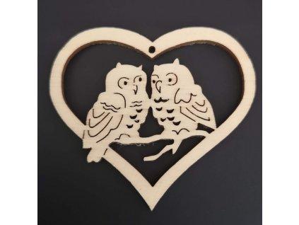 Dřevěná ozdoba srdce se sovami 6 cm