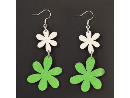 Dřevěné náušnice květiny bílá a zelená, 5 cm