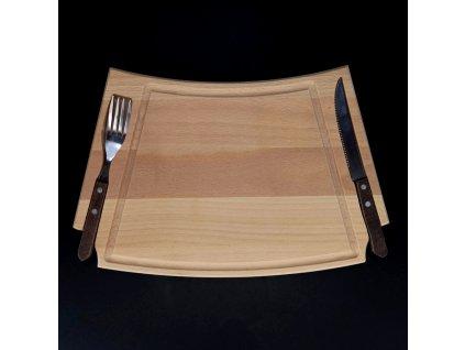 Dřevěné prkénko na steak s příborem, masivní dřevo, rozměr 36x22x2 cm