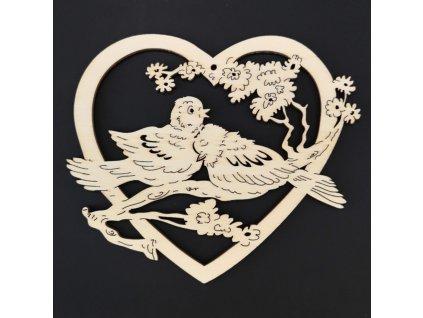 Dřevěná ozdoba srdce s ptáčky 15 cm