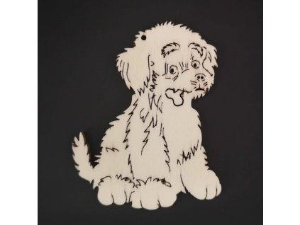 Dřevěná ozdoba pes 7 cm