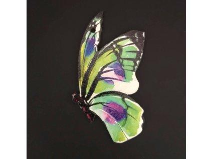 Dřevěná dekorace motýl barevný 9cm