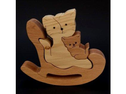 Dřevěné puzzle houpací kočka, masivní dřevo dvou druhů dřevin, 14 cm