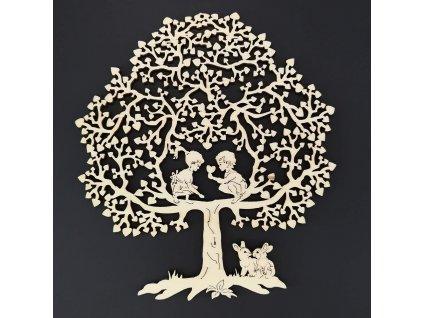 Dřevěný strom s dětmi, přírodní dekorace k zavěšení, výška 18 cm