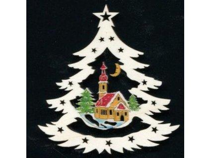 Dřevěná ozdoba barevná stromek s kostelem 6 cm