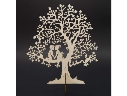 Dřevěný 3D strom s dětmi, přírodní, výška 22 cm