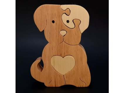 Dřevěné puzzle pes, masivní dřevo dvou druhů dřevin, 11x15x3 cm