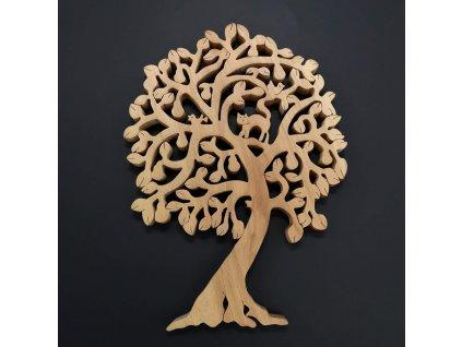 Dřevěný strom s kočkou, masivní dřevo, výška 24 cm, tloušťka 15 mm