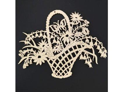 Dřevěná dekorace závěsná květiny k vymalování