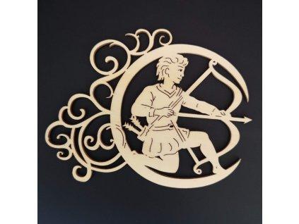 Dřevěná ozdoba - znamení střelec 13 cm