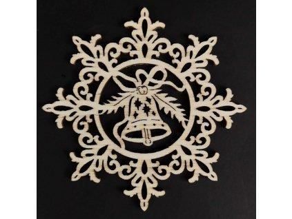 Dřevěná ozdoba vločka se zvonkem 9 cm