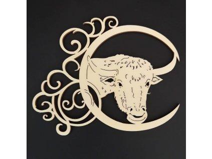 Dřevěná ozdoba - znamení býk 13 cm