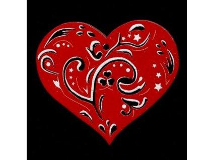Dřevěná ozdoba červená srdce 6 cm