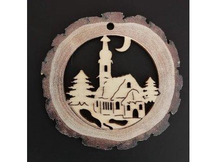 Dřevěná ozdoba s potiskem kůry - koule s kostelem 6 cm