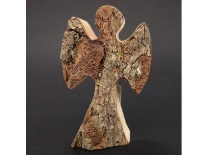 Dřevěný anděl s kůrou, masivní dřevo, 8x5x2 cm