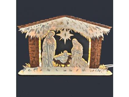 Dřevěný svítící portál betlém