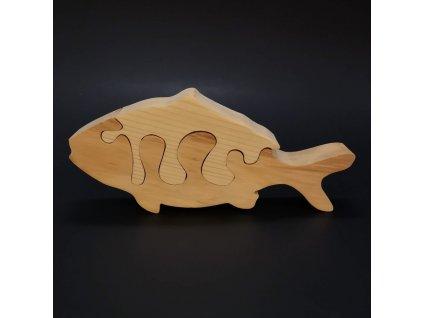 Dřevěné puzzle ryba, masivní dřevo dvou druhů dřevin, 19 cm