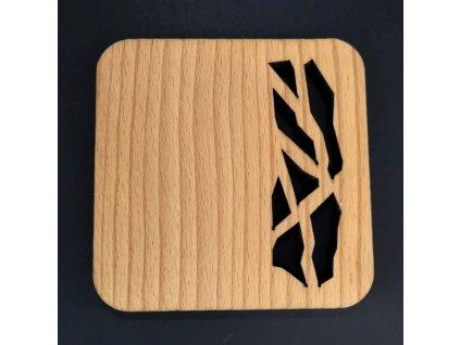 Dřevěný podtácek hranatý s prořezem, masivní dřevo, 9x9 cm