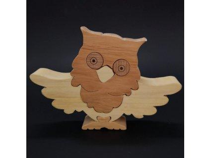 Dřevěné puzzle sova, masivní dřevo dvou druhů dřevin, 18x13 cm
