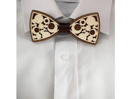 Dřevěný motýlek k obleku - bubliny 11 cm