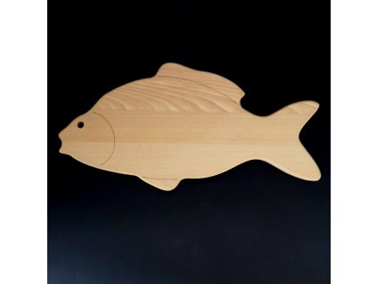 Dřevěné prkénko ve tvaru kapra, masivní dřevo, 45x22,5x2 cm