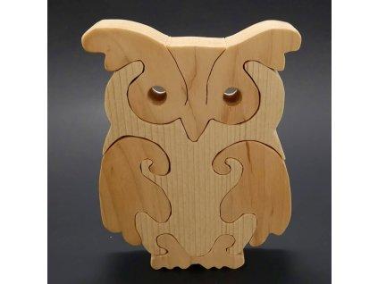 Dřevěné puzzle sova, masivní dřevo dvou druhů dřevin, 15 cm