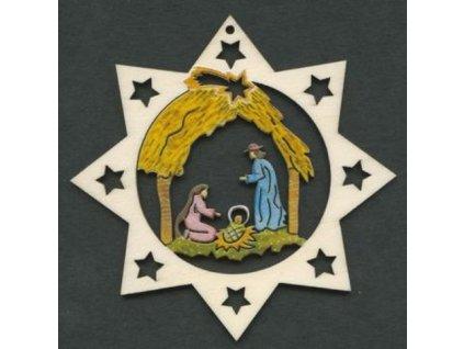 Dřevěná ozdoba hvězda barevná s betlémem 6 cm