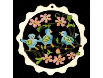 Dřevěná ozdoba barevná vlnka s ptáčky 9 cm