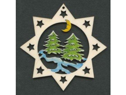 Dřevěná ozdoba barevná hvězda se stromy 6 cm