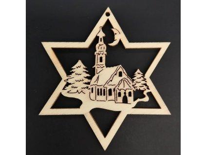 Dřevěná ozdoba hvězda s kostelem 6 cm