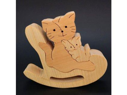Dřevěné puzzle houpací kočka, masivní dřevo dvou druhů dřevin, 14x11,5x3 cm