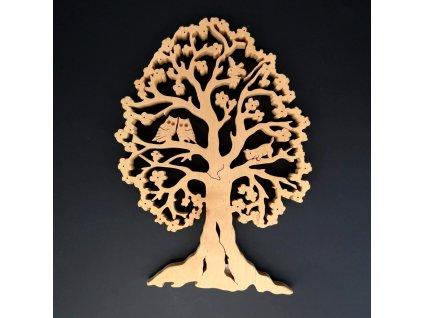 Dřevěný strom se sovami, masivní dřevo, výška 26 cm