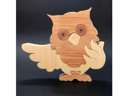 Dřevěné puzzle sova, masivní dřevo dvou druhů dřevin, 22 cm