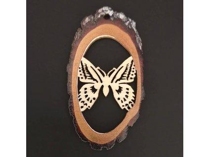 Dřevěná ozdoba s potiskem kůry - ovál s motýlem 6 cm