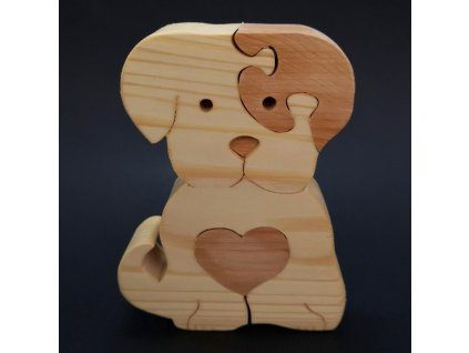 Dřevěné puzzle pes, masivní dřevo dvou druhů dřevin,11x15x3 cm