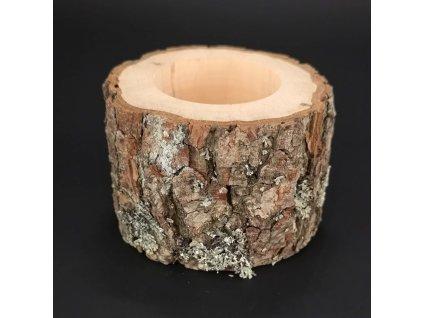 Dřevěný svícen kůrový kmen, masivní dřevo, výška 6 cm