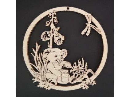 Dřevěná ozdoba kolečko s medvídkem 9 cm