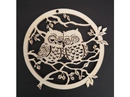 Dřevěná dekorace sovičky v kolečku 8 cm